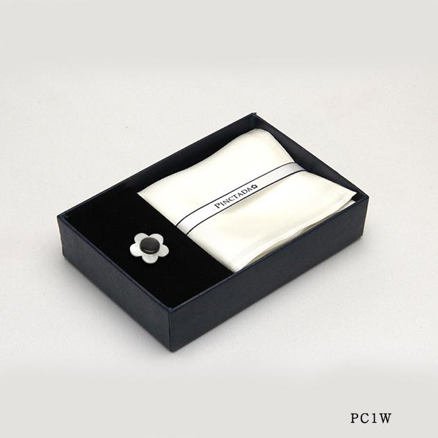 ポケットチーフ【シルク/ホワイト】&ブートニエールセット